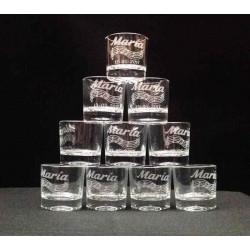 Vasos chupito grabado con texto y dibujo para comunion