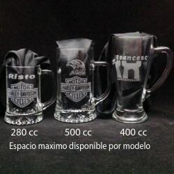 Jarras Cerveza grabadas con texto y dibujo