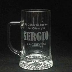 Jarra Cerveza  grabada con mi diseño de texto