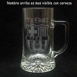 Jarra Cerveza grabada con texto y dibujo