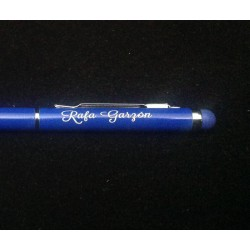 Bolígrafo fino con pulsador táctil personalizado