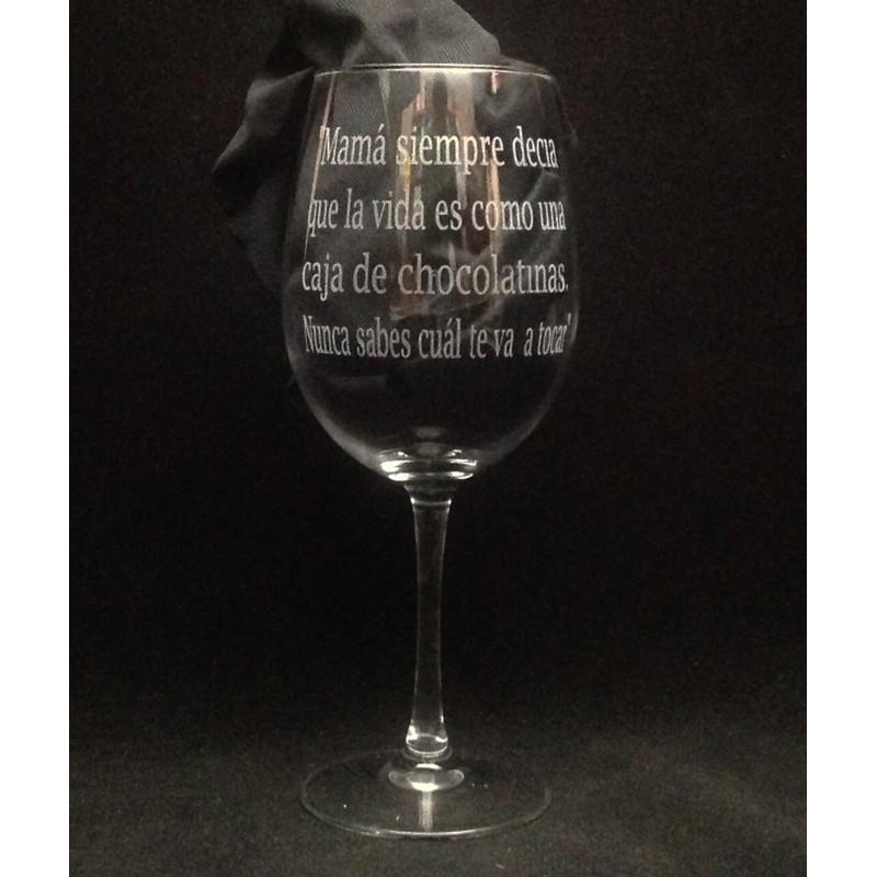 Copa Vino Grabada Con Texto Y Dibujo
