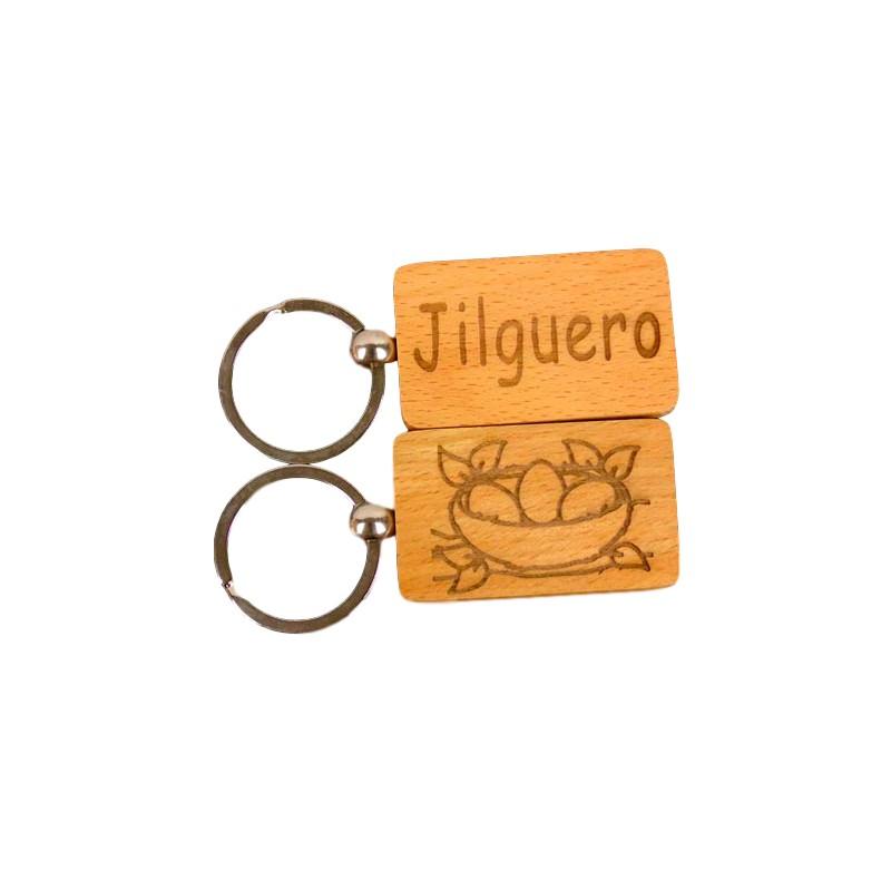 Llavero madera grabado con texto o dibujo