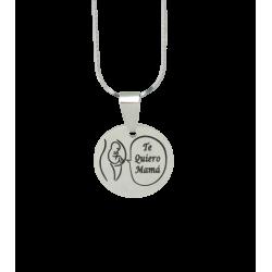 Colgante Medalla acero grabada Te Quiero Mamá