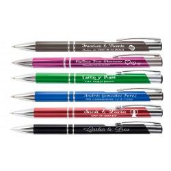 Bolígrafos metal en color grabados  como desee